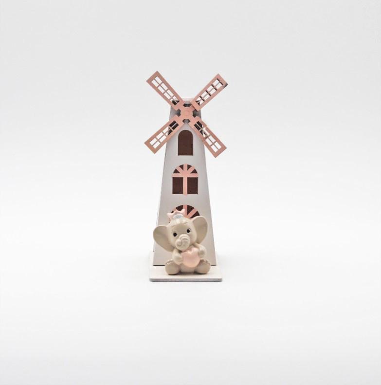 Bomboniera in resina elefante con mulino a vento rosa Pz. 1