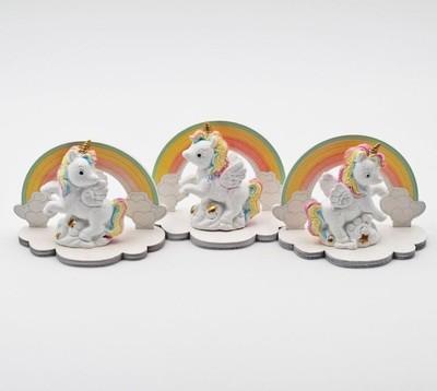 Bomboniera in resina unicorno arcobaleno Pz. 3