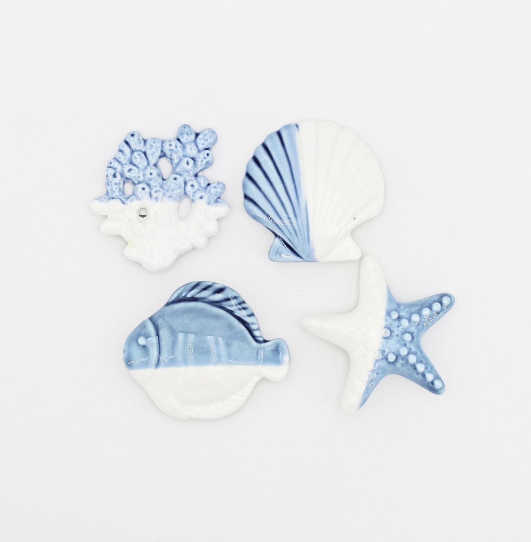 Bomboniera in ceramica calamita 4 soggetti marini Pz. 4
