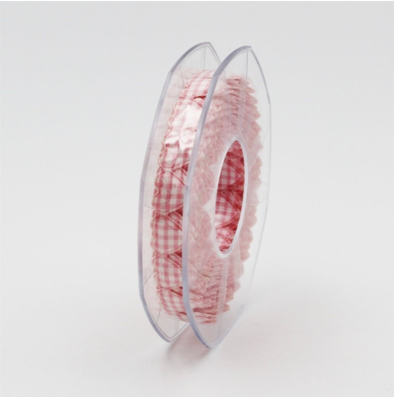 Furlanis nastro cuore imbottito a quadri rosa colore B20 Mt.5