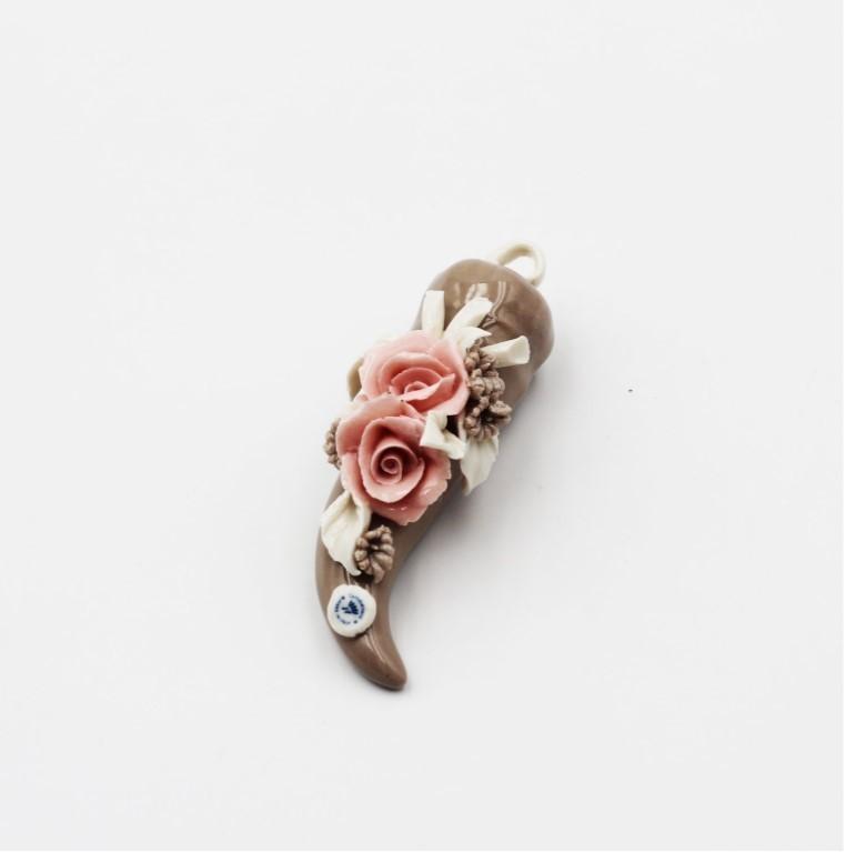 Bomboniera Corno piccolo fiori quasimodo *prodotto artigianale* Pz. 1
