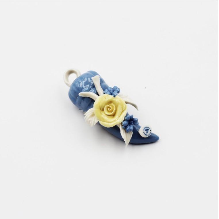Bomboniera Corno mignon fiori quasimodo *prodotto artigianale*Pz.1