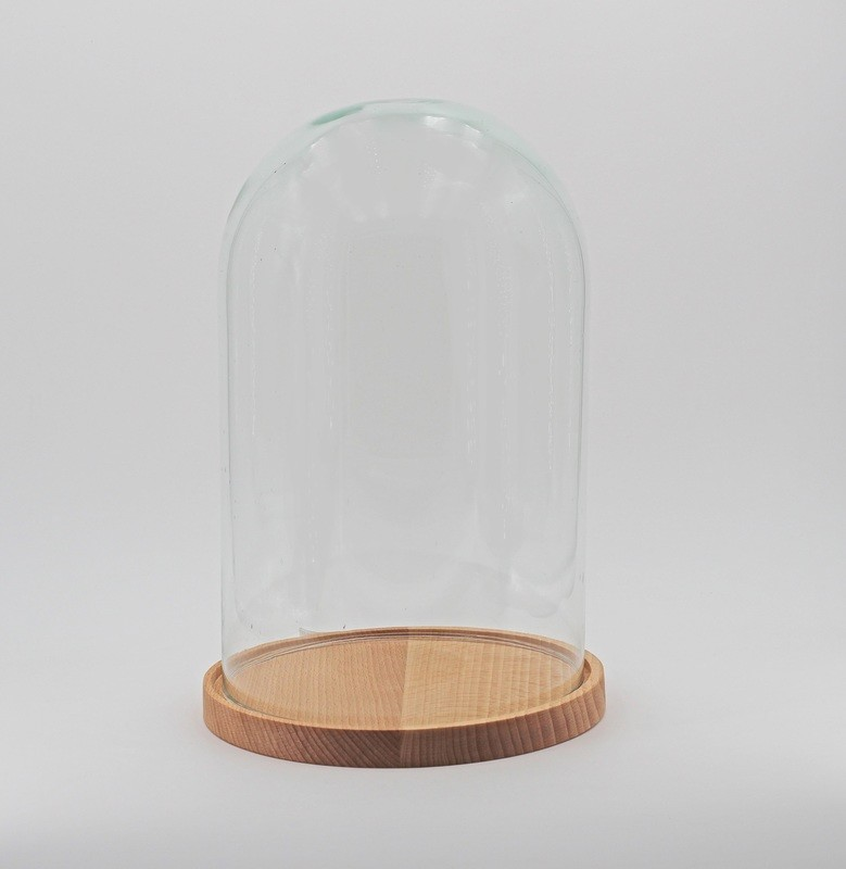Campana in vetro con base in legno Pz.1