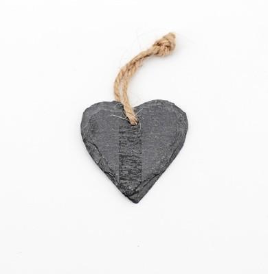 Applicazione cuore in ardesia con spago Pz. 1