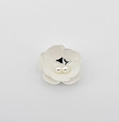 Applicazione fiore bianco con perle e strass Pz. 12
