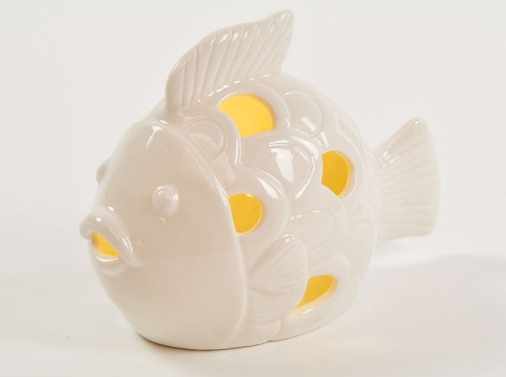 Bomboniera in porcellana pesciolino con led Pz. 1