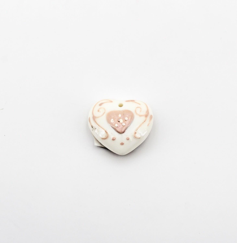Applicazione cuore smaltato rosa Pz. 10
