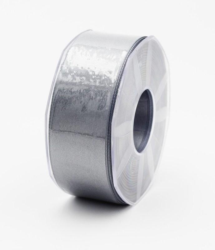 Furlanis nastro di raso grigio medio colore 75 mm.40 Mt.25