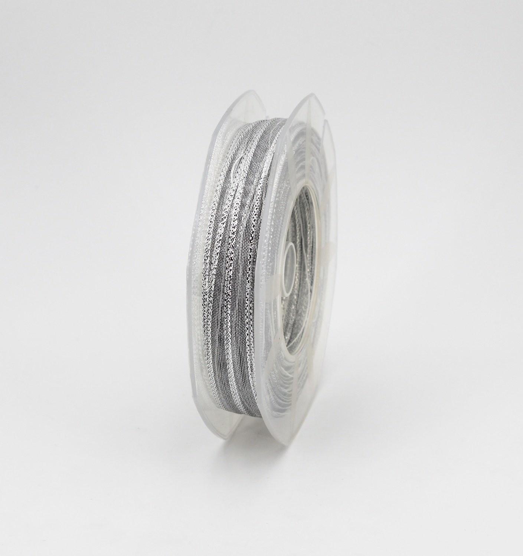 Furlanis  nastro velo bordato lurex con tirante argento mm.6 Mt.25