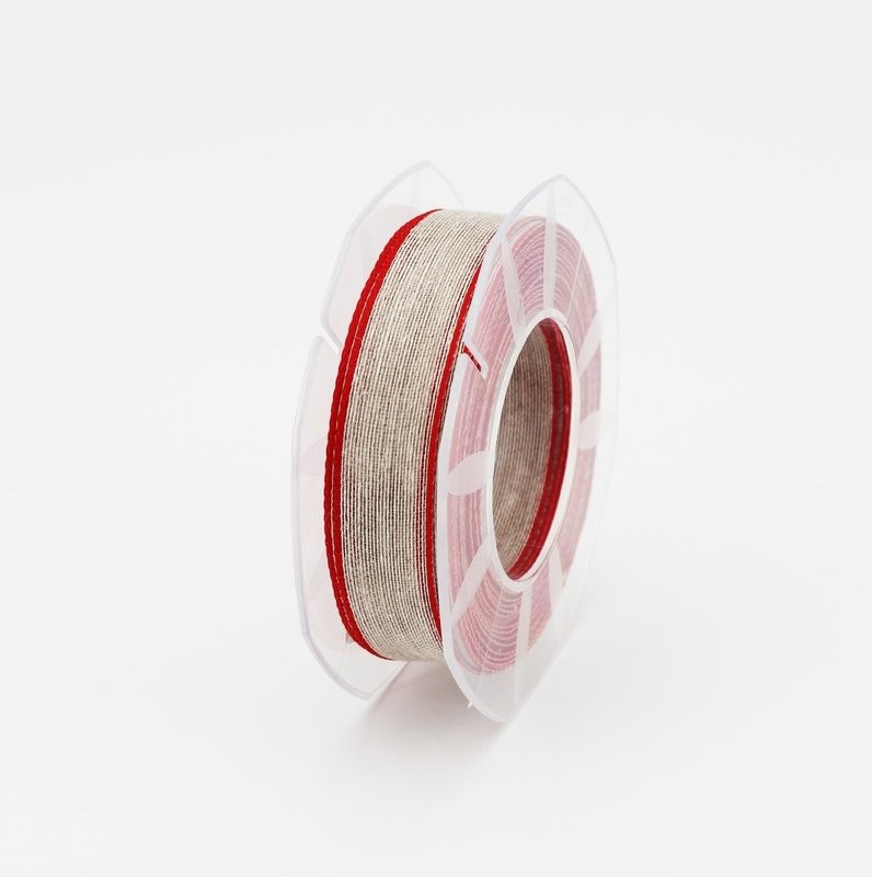 Furlanis nastro lino bordo colorato rosso colore 31 mm.20 Mt. 15