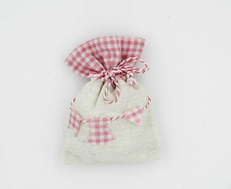 Sacchetto baby shower rosa Pz. 12