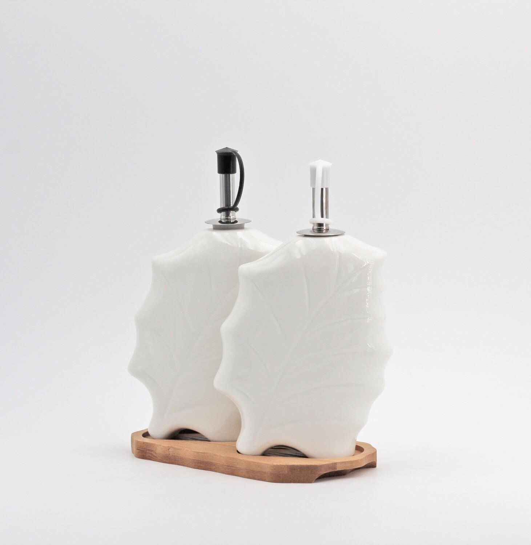 Bomboniera in porcellana foglia set olio e aceto Pz.1
