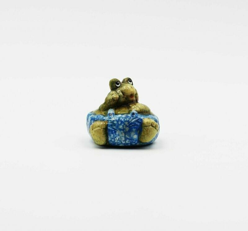 Bomboniera in ceramica  ranocchio celeste Pz.12