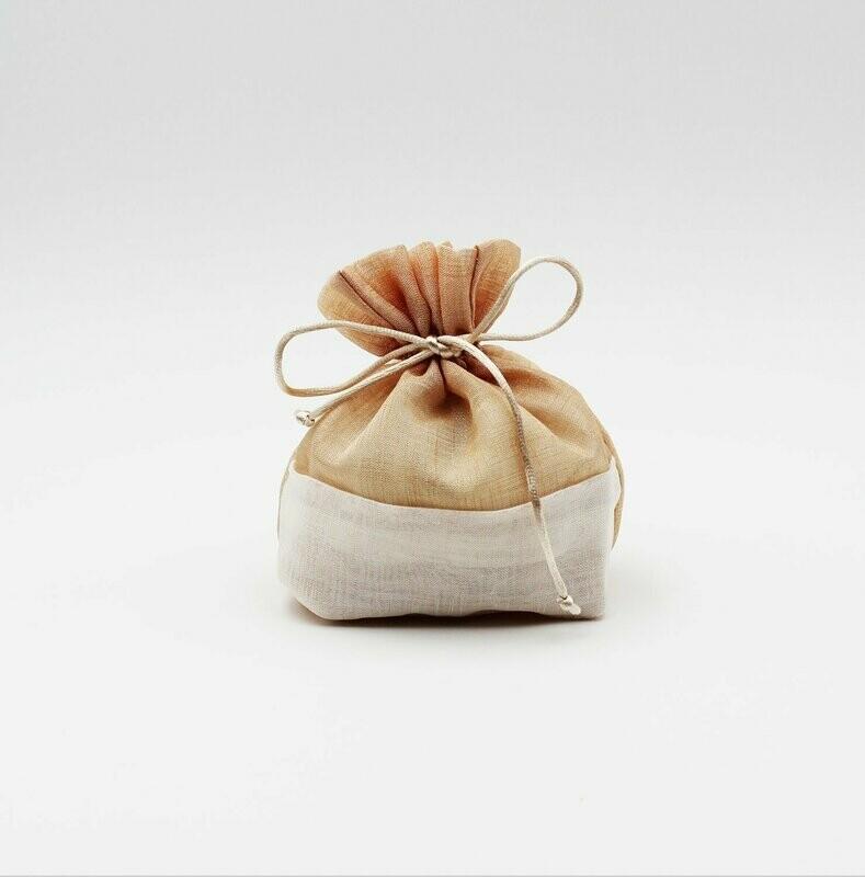 Sacchetto lino bicolore beige scuro Pz.10