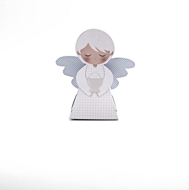 Scatola angelo con ali a righe celesti Pz.10