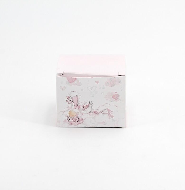 Scatola quadrata cicogna rosa Pz. 10