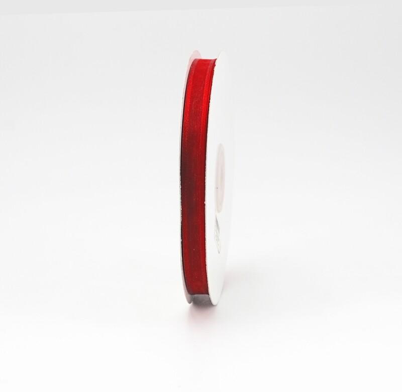 Nastro rosso organza bordata mm. 10 Mt. 25