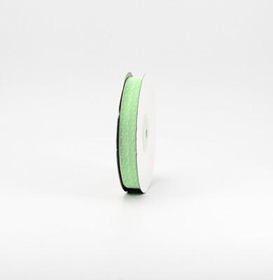 Nastro verde chiaro organza a pois mm.15 Mt. 50