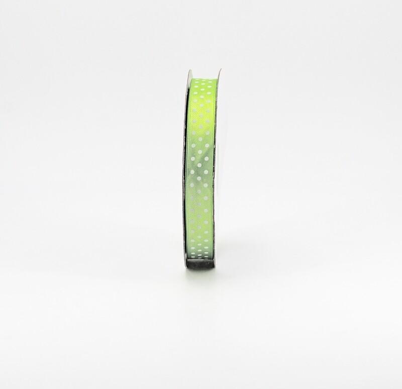 Nastro raso verde chiaro a pois mm.15 Mt.50