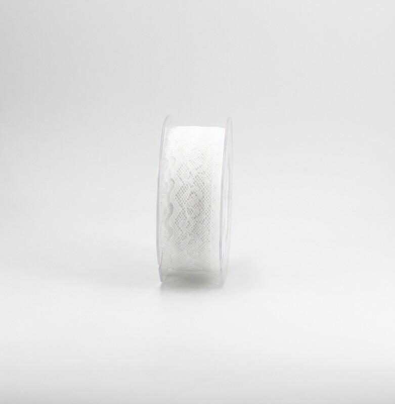 Nastro pizzo nylon bianco colore 13 mm. 34 Mt. 15
