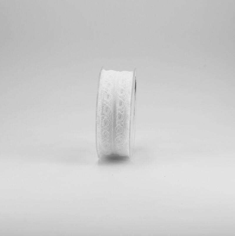 Nastro pizzo nylon bianco colore 1 mm. 35 Mt. 25