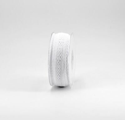 Nastro pizzo nylon bianco colore 13 mm. 20 Mt. 25