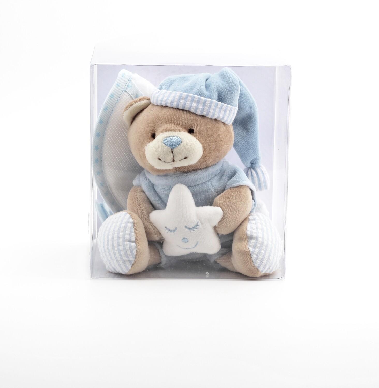 Confezione regalo orsetto celeste più bavaglino in tela aida Pz. 1