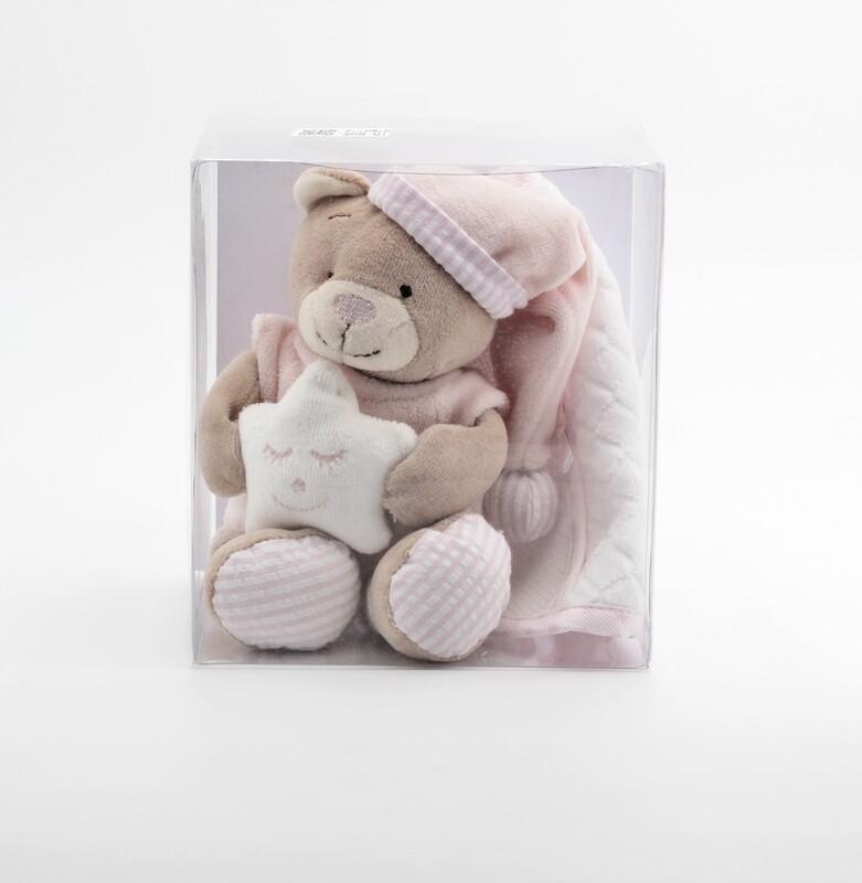Confezione regalo orsetto rosa più bavaglino in tela aida Pz. 1