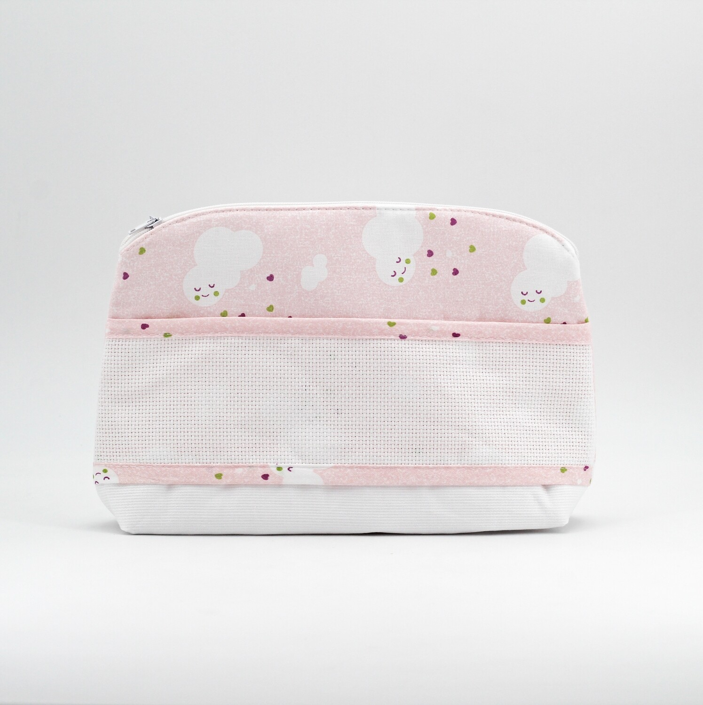 Pochette rosa con fantasia nuvolette Pz. 1