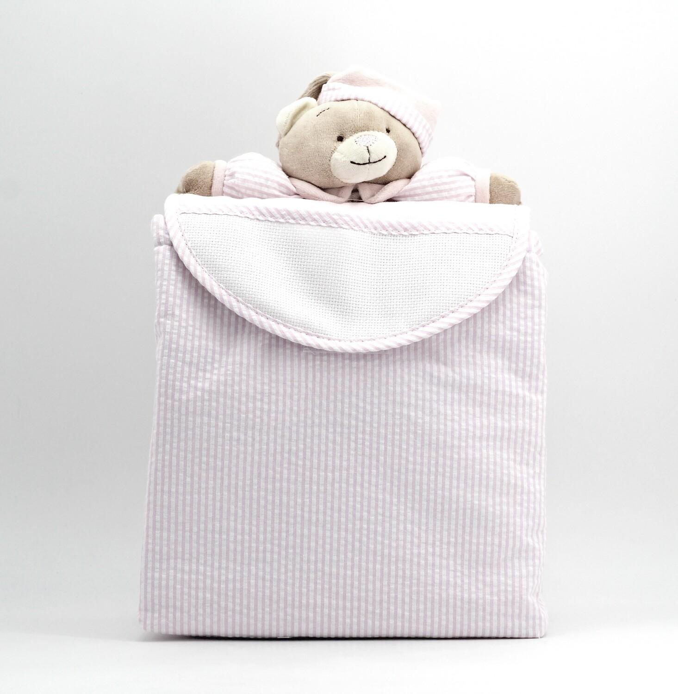 Zainetto rosa a righe con orsetto Pz.1