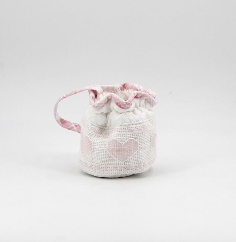 Portaciuccio bianco e rosa con fantasia cuore Pz. 1