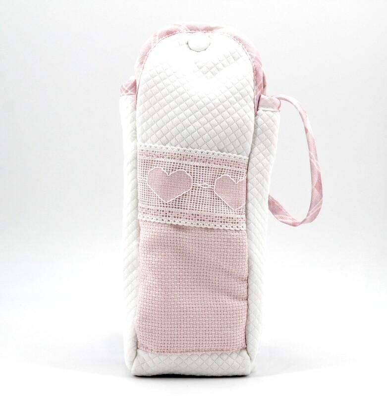 Portabiberon bianco e rosa con manico  Pz. 1