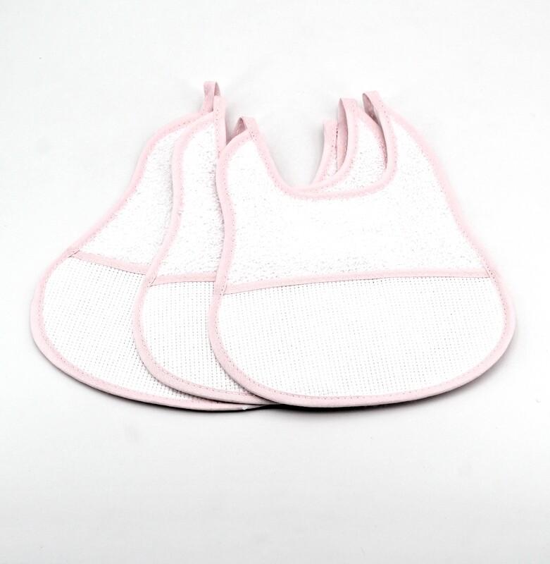 Bavaglino bianco in tela aida e spugna con bordi rosa  Pz. 3