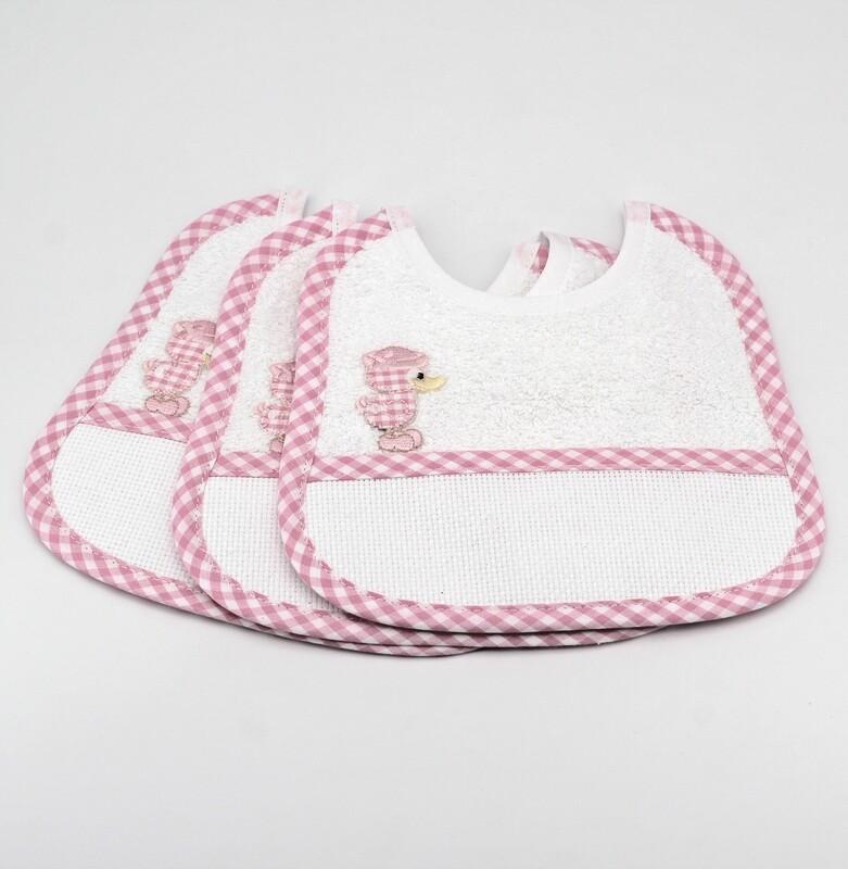 Bavaglino bianco in tela aida e spugna con bordi a quadretti rosa Pz. 3