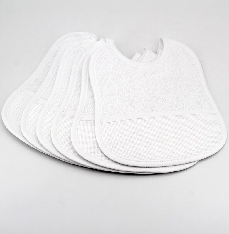 Bavaglino bianco in spugna garzata Pz. 6