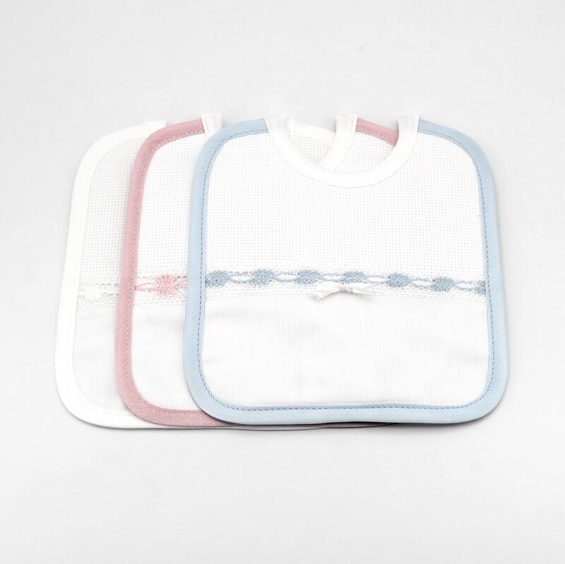 Bavaglino bianco con bordi colorati Pz. 3