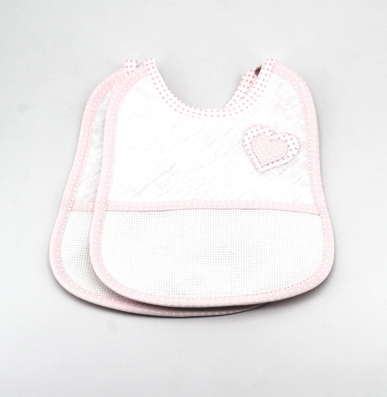 Bavaglino bianco in tela aida e spugna con bordi rosa a pois Pz. 2