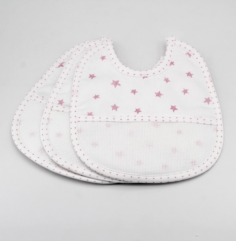 Bavaglino bianco con fantasia stelle rosa e tela aida Pz. 3