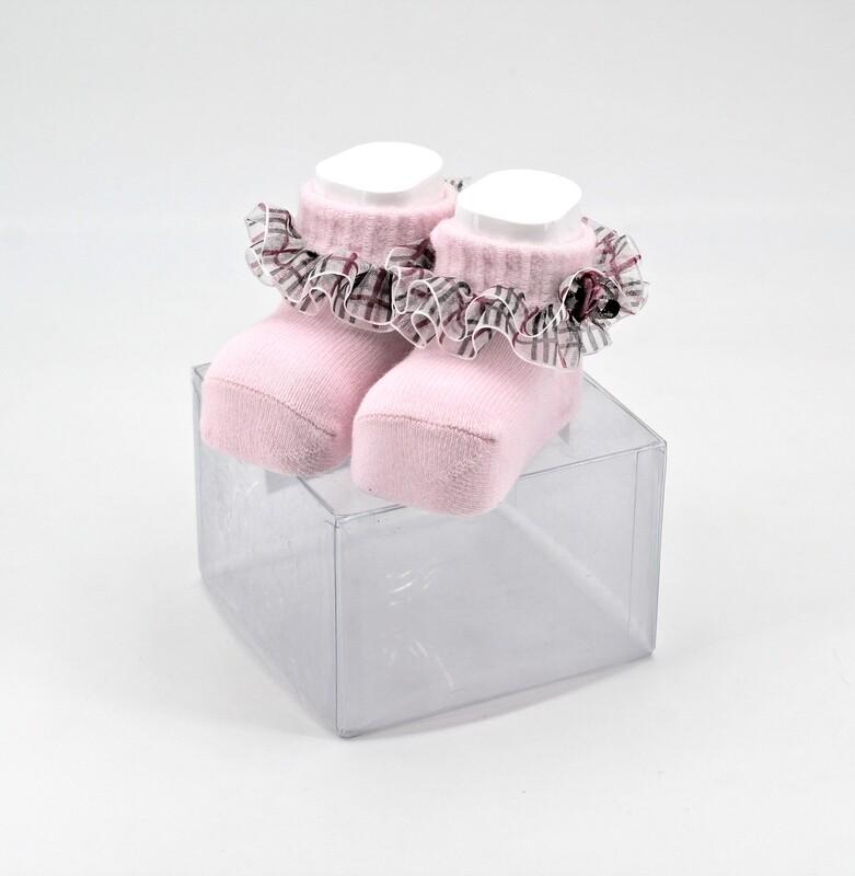 Scarpine neonato in cotone rosa con velo fantasia a righe Pz. 1