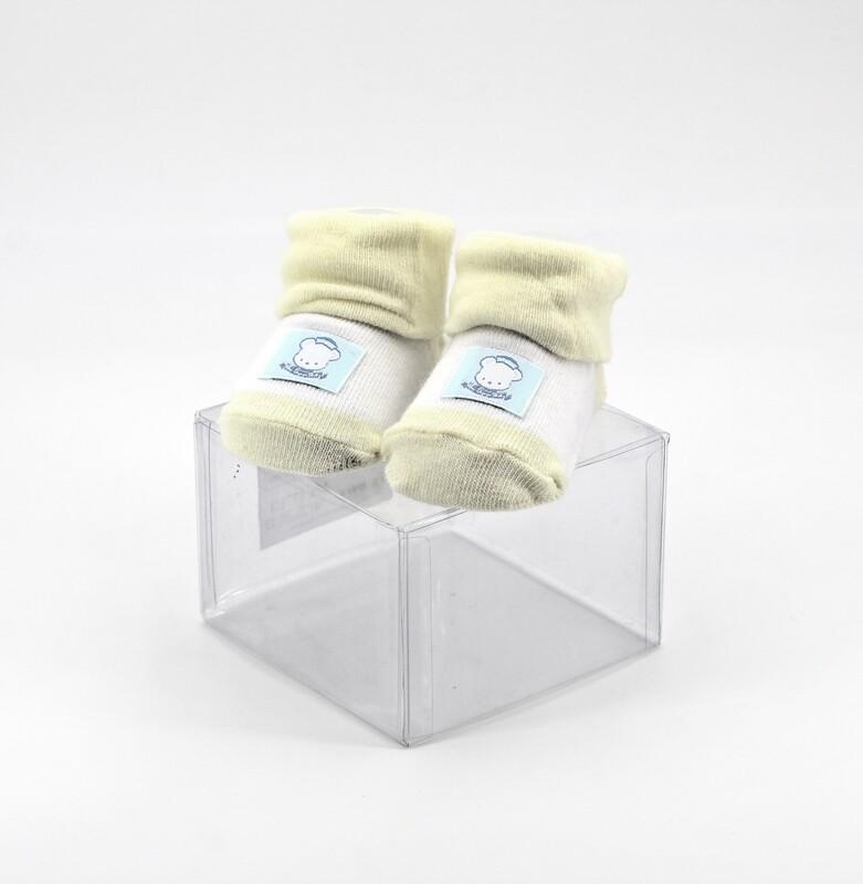 Scarpine neonato in cotone gialle e bianche con orsetto Pz. 1