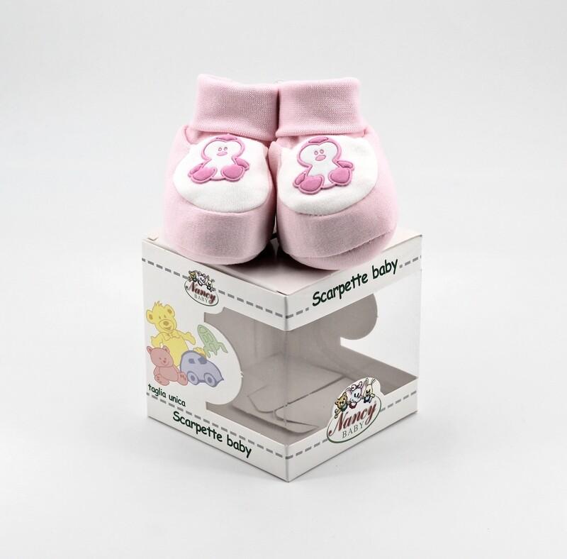 Scarpine neonato in cotone rosa e bianche Pz. 1