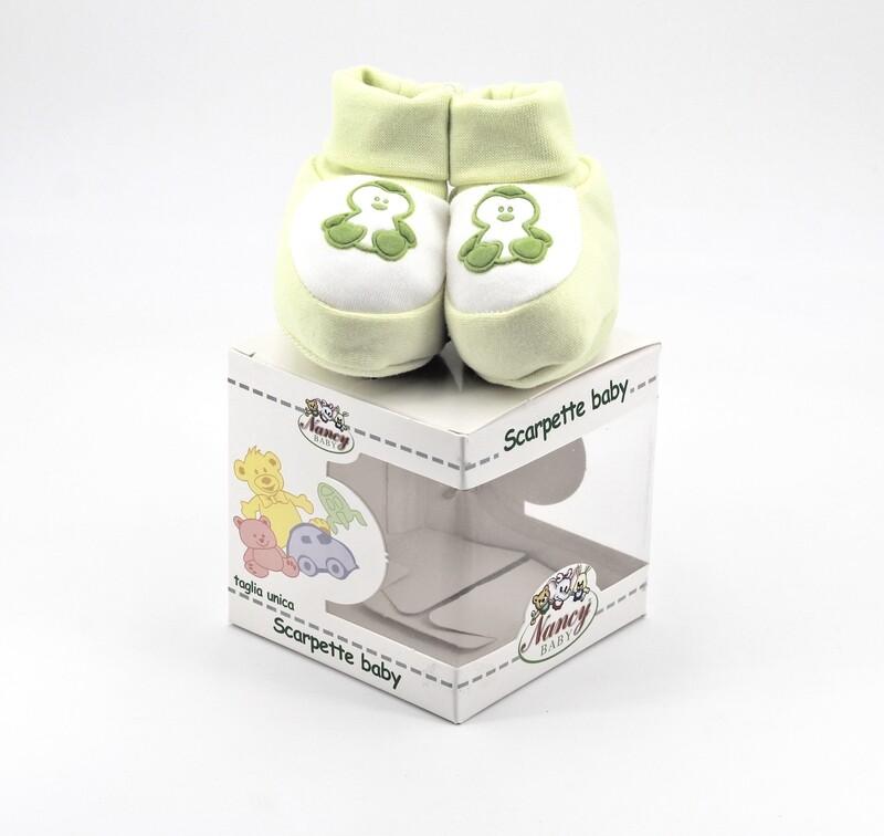 Scarpine neonato in cotone verdi e bianche Pz. 1