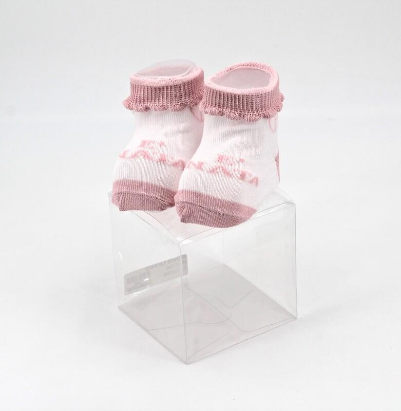 Scarpine neonato in cotone bianche e rosa è nata Pz. 1