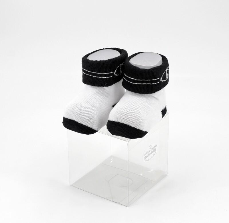 Scarpine neonato in cotone bianche e nere Pz. 1