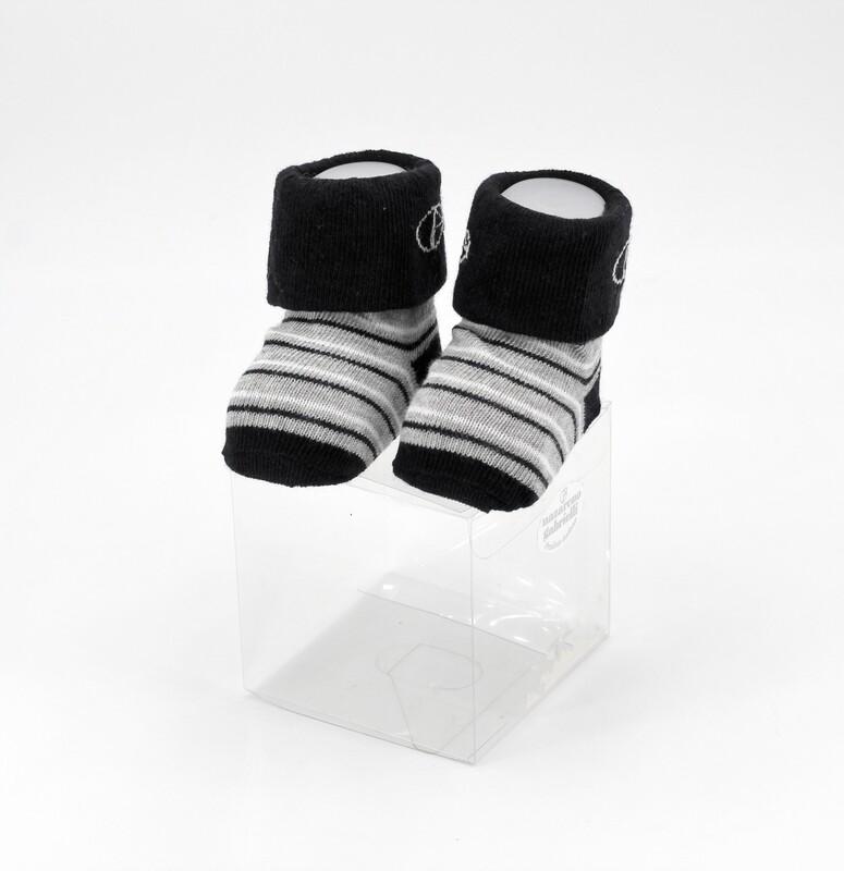 Scarpine neonato in cotone nere e grigie a righe Pz. 1