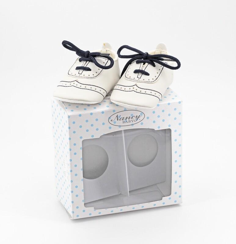 Scarpine neonato bianche con lacci blu misura 16 Pz. 1