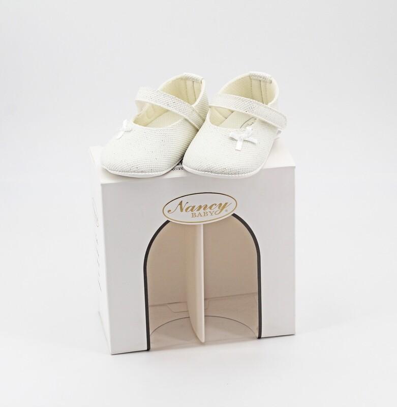 Scarpine neonato bianca con trama brillantinata misura 16 Pz. 1