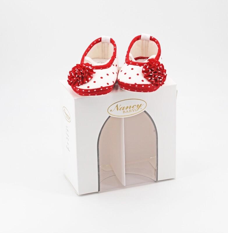 Scarpine neonato bianca con pois rossi più coccarda misura 16 Pz. 1