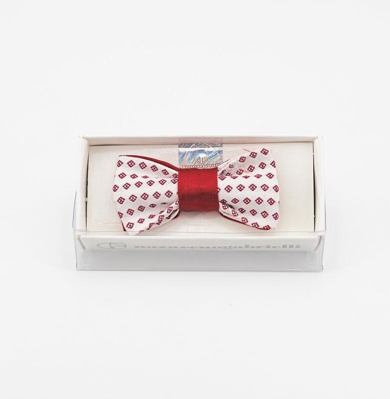 Papillon bianco con fantasia rombi rossi misura 75 anni 1/4 Pz.1