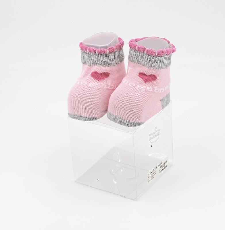 Scarpine neonato in cotone rosa con bordi grigi Pz. 1